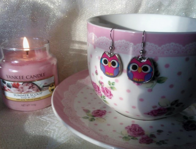 Candy Pink Gingham Owl Earrings