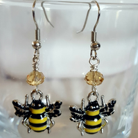 Bumble Bee Crystal Earrings