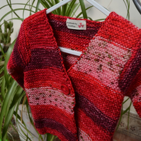 Hand-knitted Baby Jacket in Gorgeous Reds! 6-9mnths
