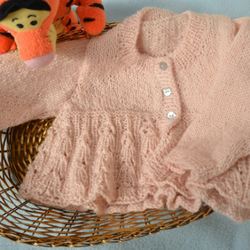 Hand knitted new born baby coat and hat