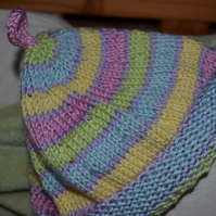 Lovely bright hand-knitted baby hat