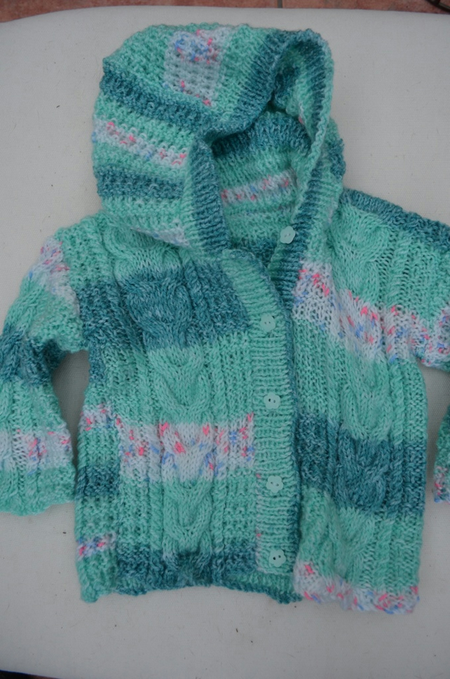 Beautiful hand-knitted baby's hooded jacket (up to 1yr)