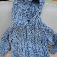 Gorgeous Blue Cotton Mix Hand-knitted Cable Baby Hoodie 6mnths-1yr