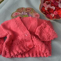 Newborn Baby Pink Lacy Cardigan with Frilled Edging