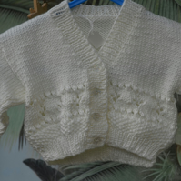 Beautiful White Lacy New Born Baby Cardigan