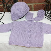 Premature Baby Cardigan, Hat and Socks in Baby Soft Alpaca