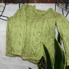 Toddler Aran Style Jumper in Pixie Green! 2-3yrs