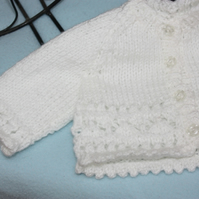 Hand Knitted Early Baby Jacket and Matching Hat in White