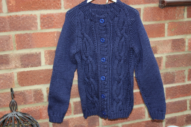Child's Navy Aran Cardigan - 7-8yrs