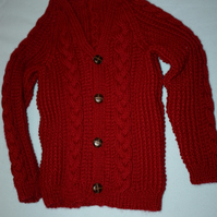Beautiful Maroon Chunky Cabled Cardigan 7-8yrs