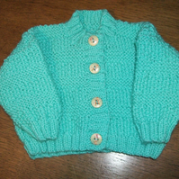 New Born Turquoise Cardigan with Snowmen Buttons!