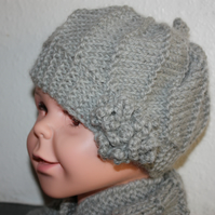 Baby to 2yrs - Alpaca mix hat and cowl
