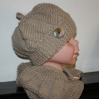 Toddler - Alpaca mix hat and cowl in beige