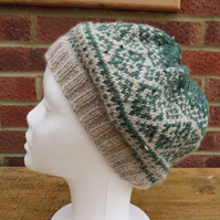 Ladies - Warm Wool Mix Fair Isle Slouchy Hat