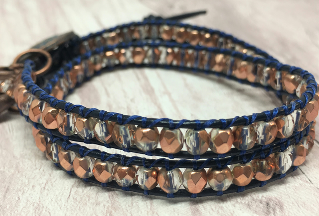 Navy and copper beaded leather wrap bracelet