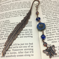 Copper feather blue beaded bookmark