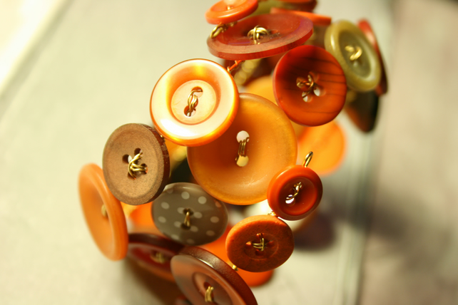 Copper, orange and gold mix button bracelet