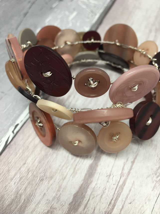 Soft neutral button bracelet