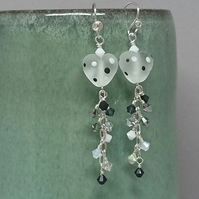 Monochrome polka dot heart earrings