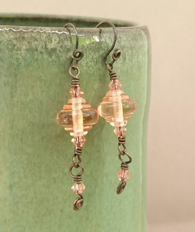 Peach glass and crystal copper earrings