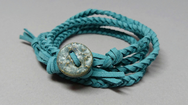 Light teal blue faux suede plaited wrap bracelet with handmade ceramic button