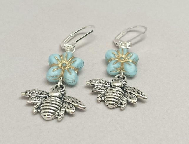 Silver bee and blue flower earrings