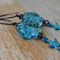 Aqua and copper sea shell and star fish earrings