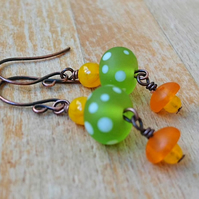 Citrus colours polka dot earrings, copper earrings