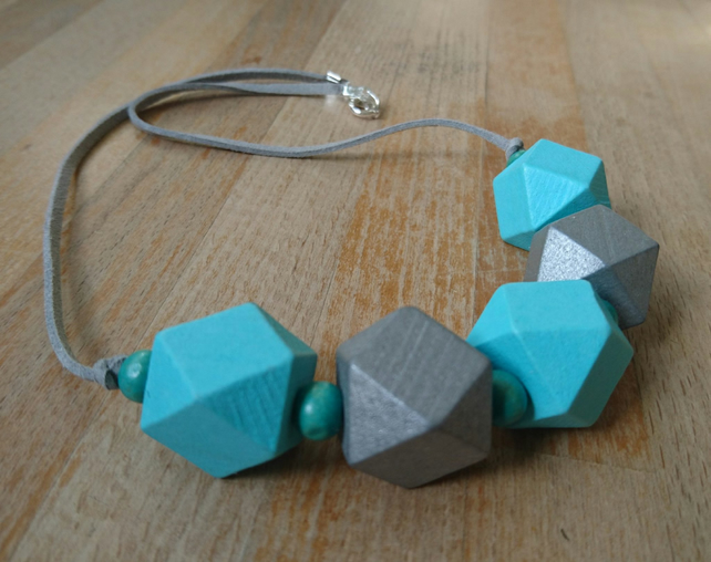 Chunky wooden geometric necklace in aqua and silver