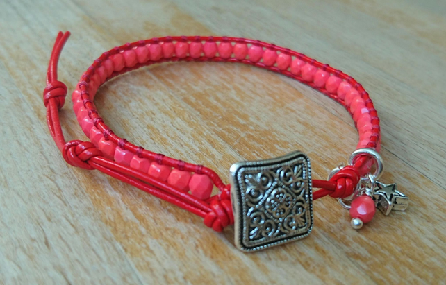 Red leather and coral bead bracelet