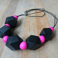 Chunky black and pink geometric necklace
