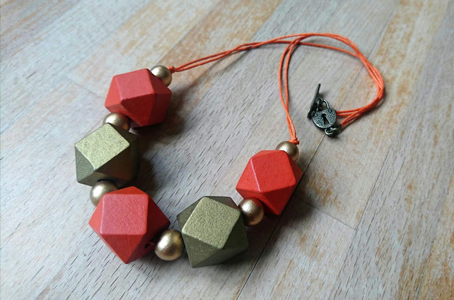 Chunky gold and rusty orange geometric necklace