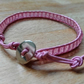 Pale pink leather and glass bead delicate bracelet