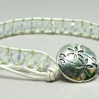 Silver leather and opalite bracelet for October birthdays