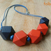 Chunky geometric wooden necklace in orange and navy