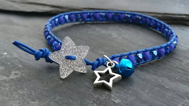 Cobalt blue leather and glass bead bracelet, glitter star button, bell, festive