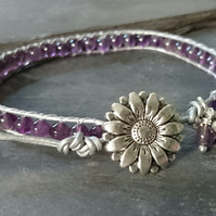 Metallic leather and amethyst bead bracelet, February birthstone