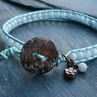 Aquamarine and leather beaded bracelet, March birthstone