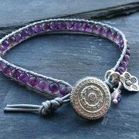 Silver leather and amethyst gemstone bracelet, February birthstone