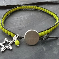 Charcoal grey and green yellow bead leather bracelet