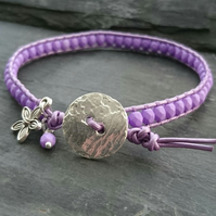 Purple metallic leather and glass bead bracelet