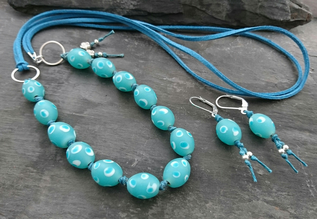 Spotty teal bead and faux suede necklace and earrings set