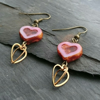 Pink heart and 3d heart charm earrings