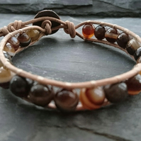 Tan leather and striped brown agate bead bracelet, semi precious beads