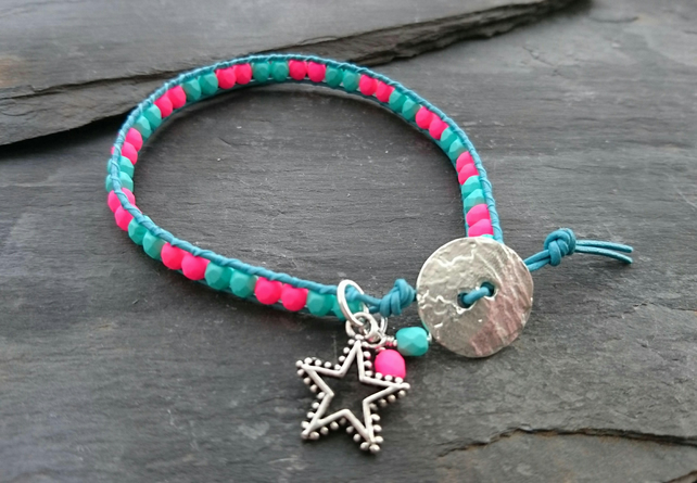 Hot neon pink and turquoise leather and bead bracelet, star charm