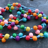 Rainbow wooden necklace with sky blue cotton cord