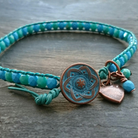 Jade green, teal and turquoise leather bead bracelet, copper heart charm