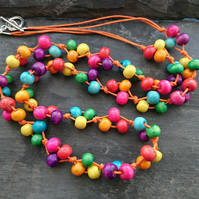 Rainbow wooden necklace with orange cotton cord