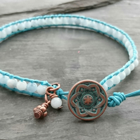 Aquamarine bead and leather bracelet, March birthday, semi precious gemstone