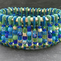 Blue, gold and green safety pin bracelet